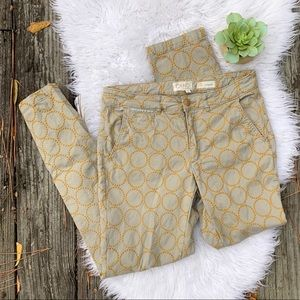 Anthropologie Embroidered Relaxed Chino Khakis